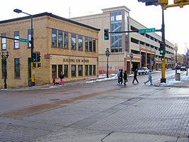 Sex trafficking victim advocates say they have seen their clients being trafficked outside their offices on the corner of 1st St. and 1st Ave. E. in downtown Duluth, seen here on Jan. 8, 2013. Duluth Mayor Don Ness has declared January Trafficking Awareness Month in the city. (MPR photo/Dan Kraker)