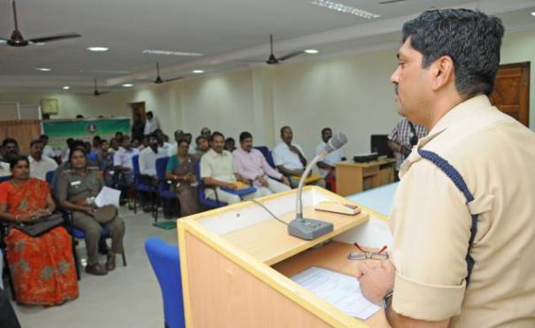 """Commissioner of Police Shailesh Kumar Yadav speaking at the workshop on """"combating trafficking in human beings"""" in the city on Tuesday. Photo: M. Moorthy"""